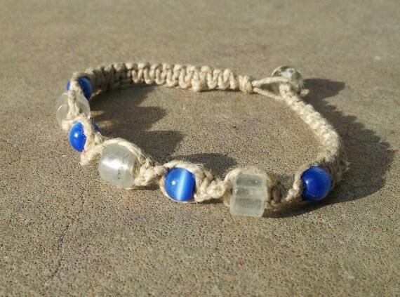 Blue cats eye hemp bracelet