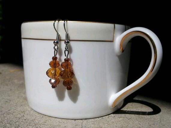 glass crystal brown amber earrings
