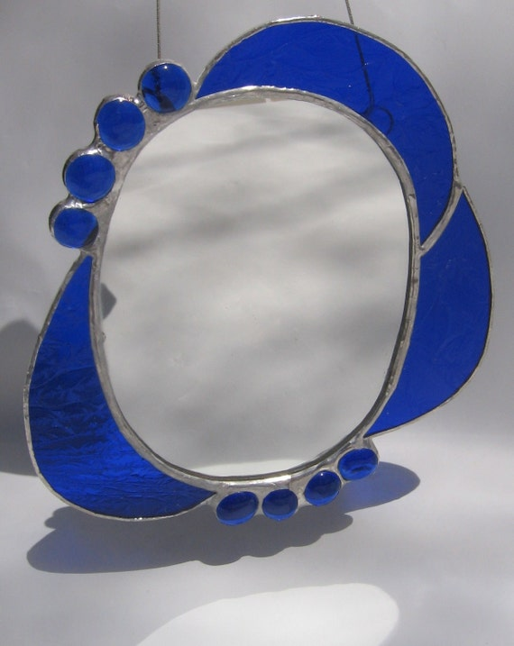 Stained Glass Mirror in Cobalt Blue