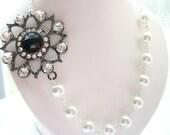Black Tie Rhinestone Necklace, White Pearl Necklace, Bridal Necklace, Bridal Jewelry, Bridesmaid Jewelry, Wedding Jewelry