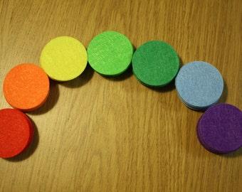 70 Felt Circles - 1.5 inches - Rainbow Colors