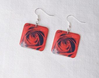 Earrings Photo Resin Rose Jewelry