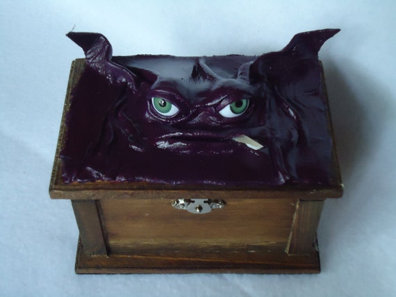 Storage  Desk Organizer Kitsch Creature Wood Leather OOAK Box