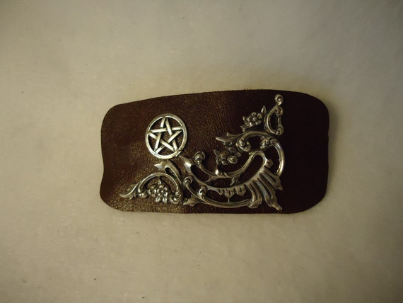 Leather Pentacle Hair Barrette Witch Wiccan Pagan