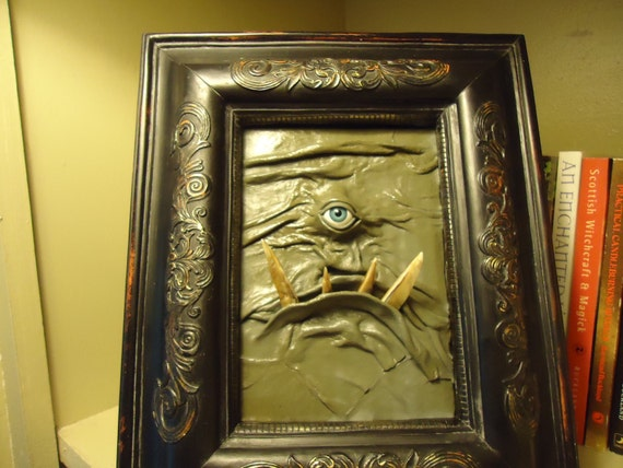 3D Leather Wall Art Monster Picture OOAK Handmade ChristmasGift LARP Fantasy Role Play