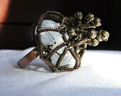 Defiant cupper wire wrapped ring The bud