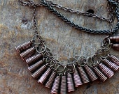 Industrial Girl - Stylish Simple Copper Necklace with the Wire Cones. Made to order item!