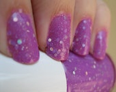 Serendipity IS My Stripper Name. Custom Neon Purple Jelly and Glitters Nail Polish Blend.