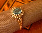 Romantic Vintage Aquamarine and Diamond and Gold Ring