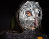 Paper mache papier mache owl mask Silver Smart from Pokaini forest bird costume