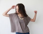 Crop Milky Brown Blouse, Boxy Silky Shirt