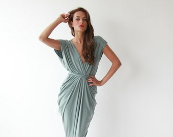 Formal maxi bridesmaids sage color dress , Sage maxi gown 1008