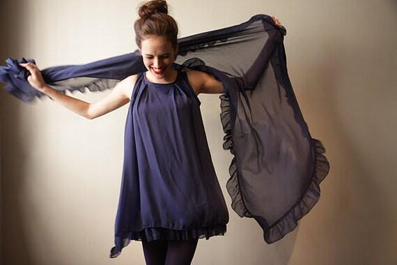 Sale 40% off Women Dress Blue Chiffon, Ultra Girly Mini Dress