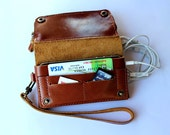 Brown Bifold leather  iPhone  wallet  wristlet   with large zipper.