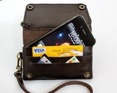 Dark chocolate  bifold leather iPhone wallet  wristlet  with large zipper