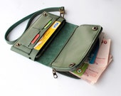 Muted Green Bifold leather iPhone wallet wristlet  with large zipper
