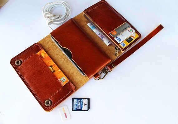 Brown Trifold leather iphone wallet  wristlet  with zipper
