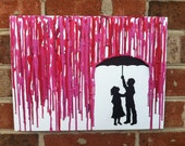 Melted Umbrella Crayon Art with Children's Silhouette