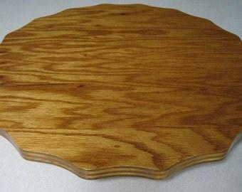 "Wooden Lazy Susan - Oak 3/4"" thick Scalloped Design"