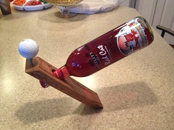 Solid Oak Wooden Balancing Wine Bottle Holder - Golf Theme