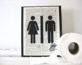 Public Restroom Panel - FREE Shipping - Graphic on Vintage Dictionary Page - 8 x 10 Mounted Black Canvas