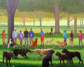 """Dogs at the Park III  giclee on archival paper  10"""" x 12"""""""