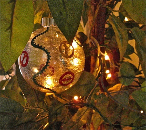 Steampunk Glass Ornament in red, gold, and green