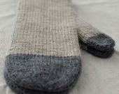 RESERVED for Daria Two-toned grey mittens in soft merino with longer cuff
