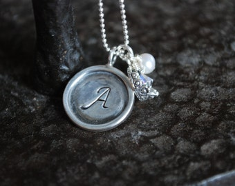 Initial necklace custom hand stamped silver