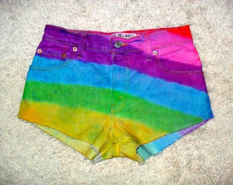 Rainbow Tie Dye  High Waisted Shorts VINTAGE LEVI