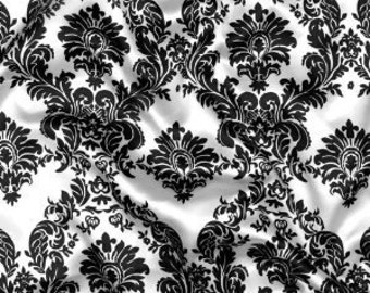 58'' Wide Charmeuse Satin Damask Black and White Fabric By The Yard 1 Yard