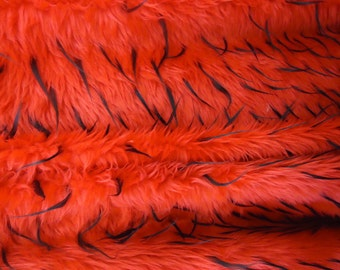 """Shaggy Faux / Fake Fur Fabric w/Colored Tips-Red/Black Tips- 60"""" 1 Yard"""