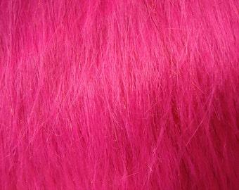 Faux Fake Fur Sparkling Tinsel Fuchsia Fabric By the Yard - 1 yard