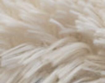 Minky Cuddle Shag Cream Fabric by the yard  - 1 yard