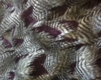 Fancy Feather Faux / Fake Fur Fabric Grey/ Aubergine 1 Yard