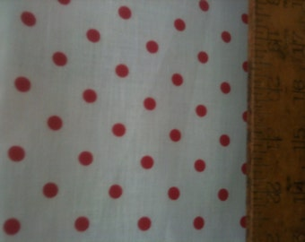 """Poly Cotton Small Red Polka Dot Print on White Background Fabric 60"""" Fabric by the Yard - 1 Yard"""