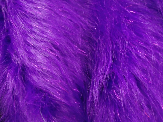 Faux fake fur sparkling tinsel purple fabric by the yard