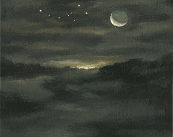 "Original Art Painting On Canvas ""Ursa Minor (Little Bear) and Crescent Moon"" Landscape with Constellation by Michael Broad"