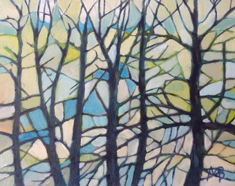 "Original Painting, Oil On Canvas ""Light Through Winter Trees"" by Michael Broad"