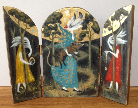 Original Art Painted Wooden Triptych Icon with 23.5ct Gold Leaf Detail Depicting Woodland Birds With Hog Surreal Dream Magic Mythology