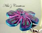 Teal & Pink Forest Flower Hair Clip