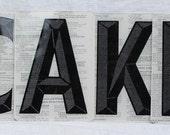 CAKE sign,embellished vintage sign letters