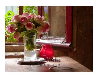 Paris Café Roses Photo Romantic Red Window 8x12 Small Print Romance Flowers Red Roses Travel Photography
