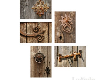 Rusty Latches Photo Card Set England Weathered Wood Photography Set of Ten 10 Notecards Blank Greeting Cards