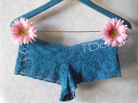 "Something blue ""I Do"" peacock blue lace bridal panties with white rhinestuds"