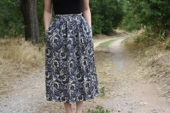 Purple and Green Paisley Maxi Skirt