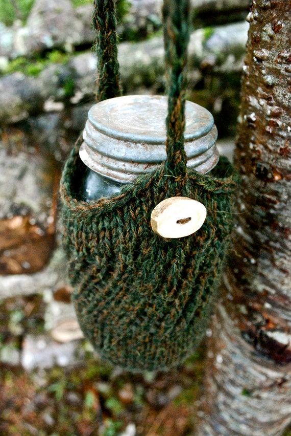 Green Quart Jar Cozy/Carrier with Antler Button