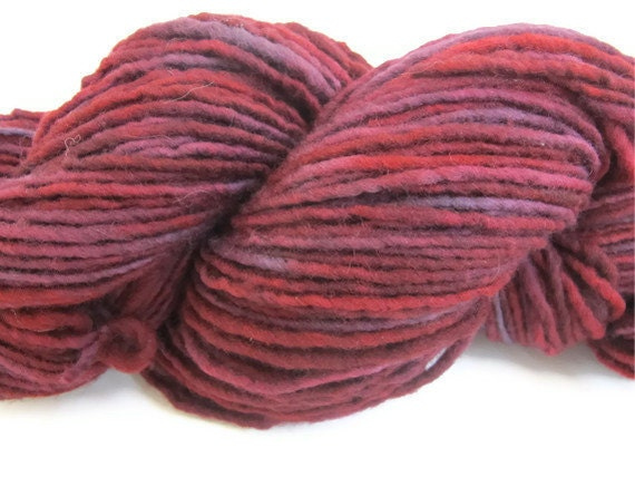 Hand Dyed Yarn, Bulky, Red and Purple