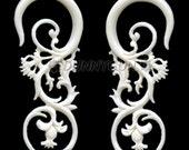 10G Pair Bone Floras Gauged Plugs Hand Carved Organic Body Piercing Jewelry Earrings 10 gauge