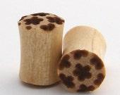 2G Pair Cherry Blossom Branded Javanese Coffeewood Plugs Organic Body Piercing Jewelry 0 Gauge